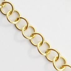Catena a cerchi in acciaio dorato 5 mm