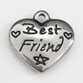 "Charm Cuore ""Best Friend"" in Acciaio"