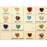 Perla vetro foglia oro/arg Cuore 12