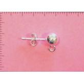 Perno per orecchini a pallina 5mm - Argento 925